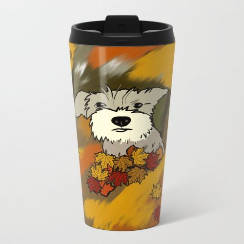 Buck The Schnauzer In Fall Leaves Travel Mug