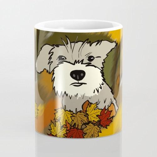 Buck The Schnauzer In Fall Leaves Coffee Mug