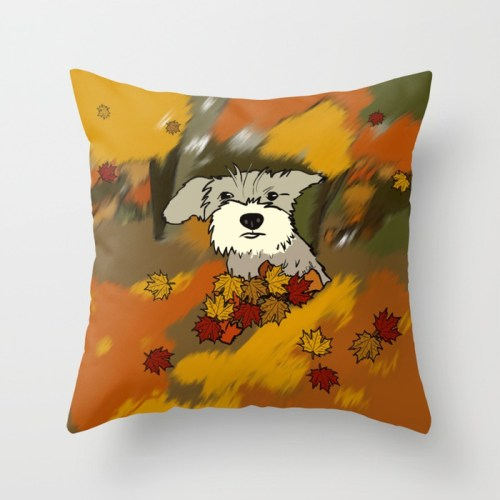 Buck The Schnauzer In Fall Leaves Throw Pillow by Melinda Todd