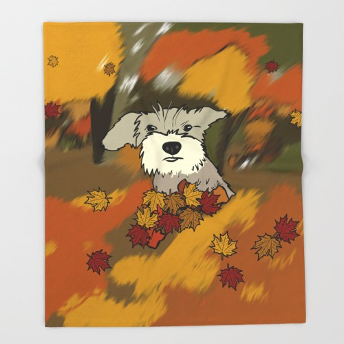 Buck The Schnauzer In Fall Leaves Throw Blanket