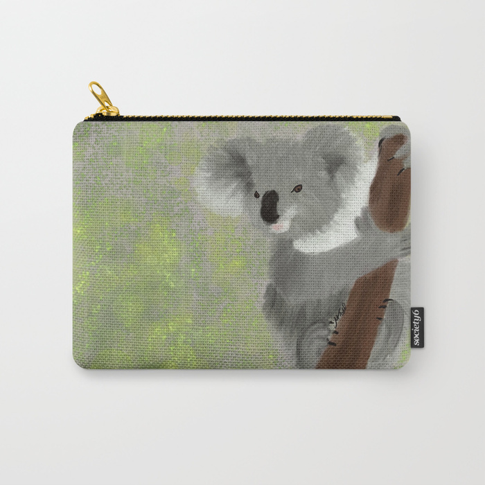Koala Bear Hanging In There Carry All Pouch by Mel's Doodle Designs