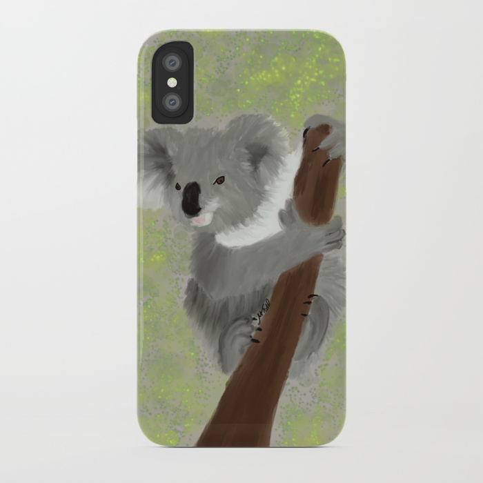 Koala Bear Hanging In There Iphone Case by Mel's Doodle Designs
