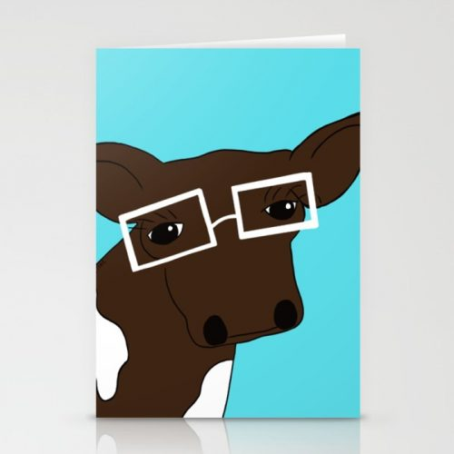 Matilda The Hipster Cow Greeting Cards