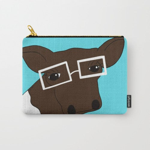 Matilda the Hipster Cow Carry All Pouch