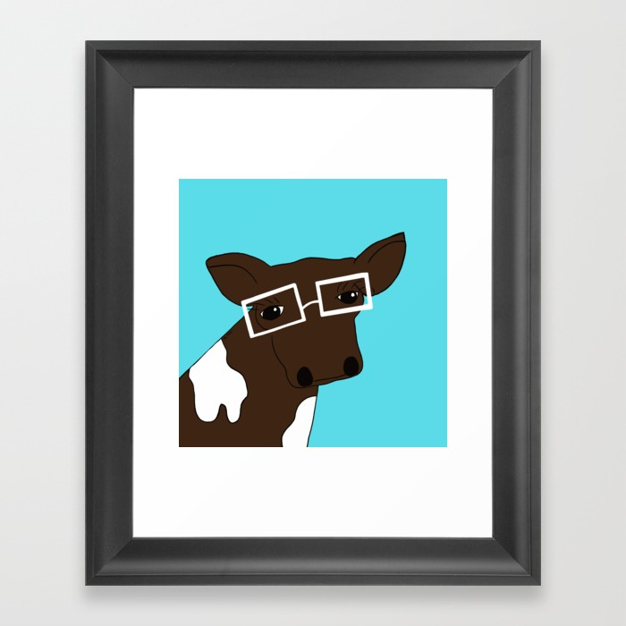 Matilda the Hipster Cow by Melinda Todd Framed Print