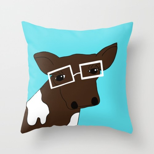 Matilda the Hipster Cow Throw Pillow