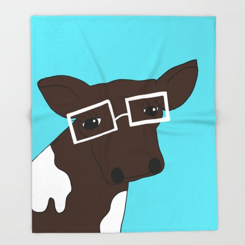 Matilda the Hipster Cow Throw Blanket