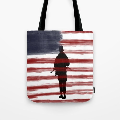 Soldier and Flag - Patriotic Tote Bag by Mel's Doodle Designs