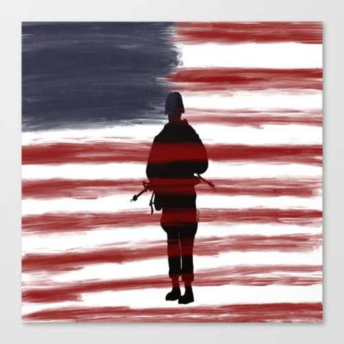 Soldier and Flag - Patriotic Canvas Print  by Mel's Doodle Designs