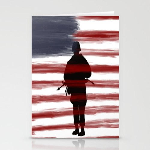 Soldier and Flag - Patriotic Greeting Cards by Mel's Doodle Designs