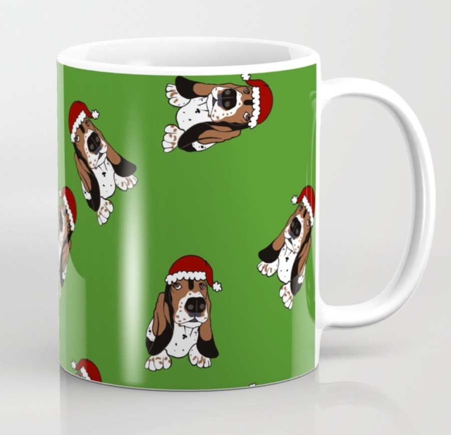 A Basset Full of Christmas Coffee Mug by Mel's Doodle Designs