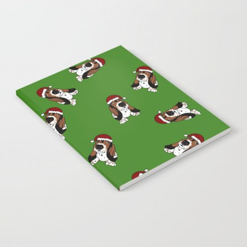 A Basset Full of Christmas Notebook by Mel's Doodle Designs