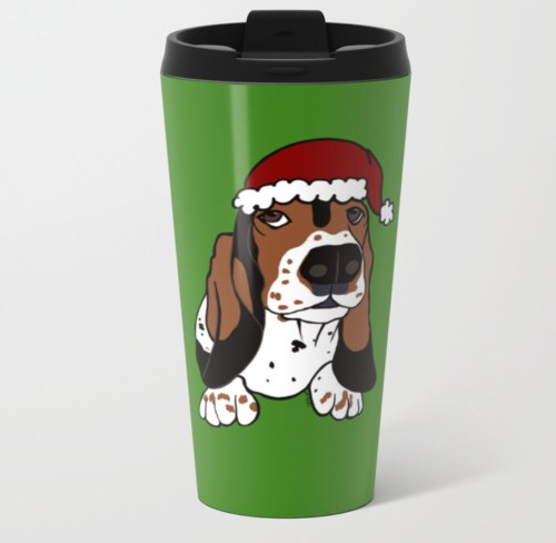 A Basset Full of Christmas Travel Mug by Mel's Doodle Designs