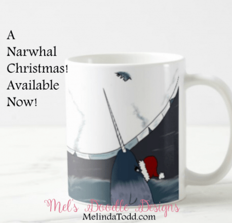 a narwhal christmas coffee mug by mels doodle designs