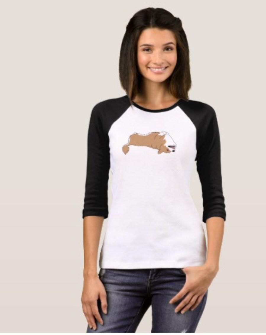 Corgi Women's 3/4 Sleeve Raglan T-Shirt by Mel's Doodle Designs