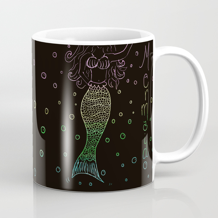 Mermaid In The Dark Coffee Mug by Mel's Doodle Designs