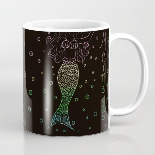 Mermaid In The Dark Coffee Mug by Mel's Doodle Designs