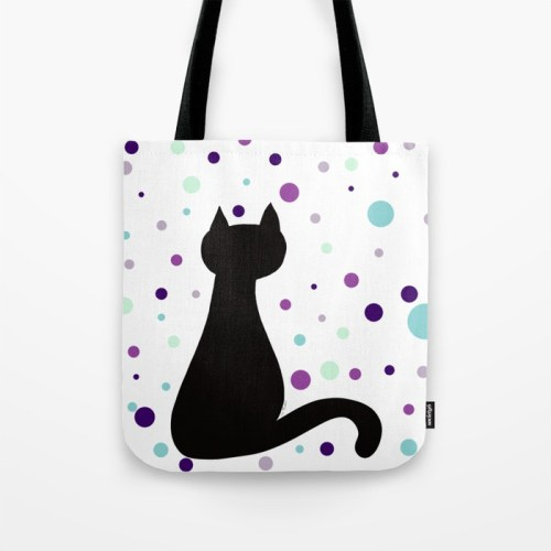 Black Cat Party Tote Bag  by Mel's Doodle Designs