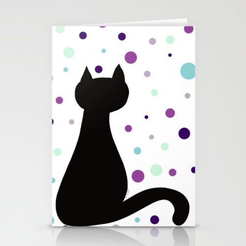 Black Cat Party Greeting Cards  by Mel's Doodle Designs