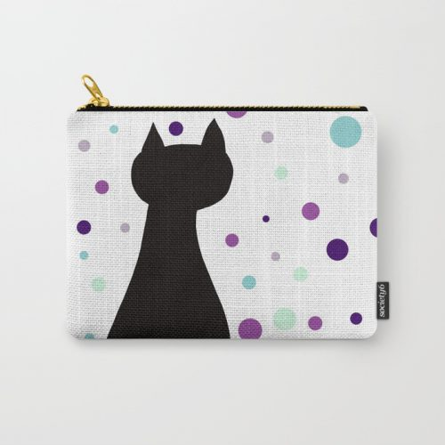 Black Cat Party Carry All Pouch  by Mel's Doodle Designs