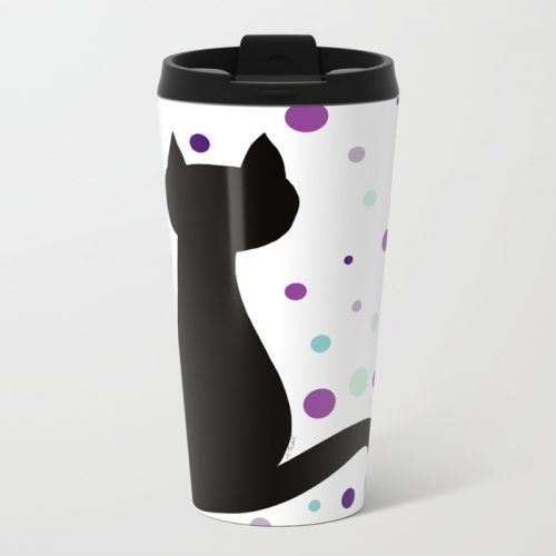 Black Cat Party Travel Mug  by Mel's Doodle Designs