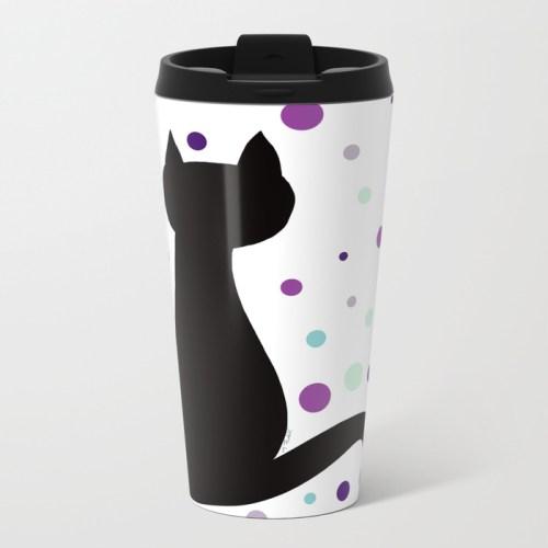 Black Cat Party Travel Mug  by Mel's Doodle Designs