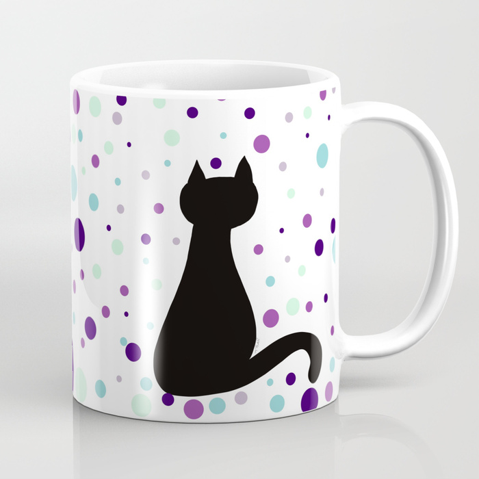 Black Cat Party Coffee Mug by Mel's Doodle Designs