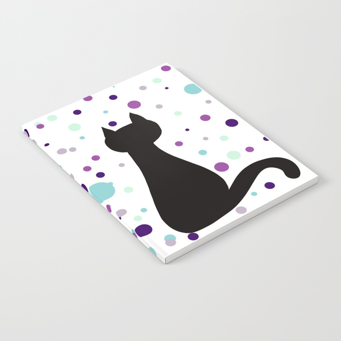 Black Cat Party Notebook by Mel's Doodle Designs