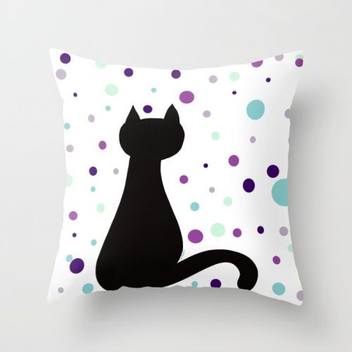Black Cat Party Throw Pillow  by Mel's Doodle Designs