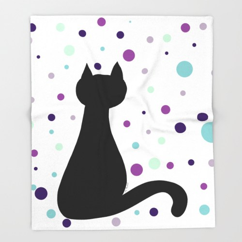 Black Cat Party Throw Blanket by Mel's Doodle Designs