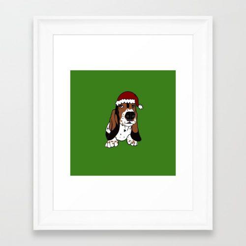 A Basset Full of Christmas Framed Art Print by Mel's Doodle Designs