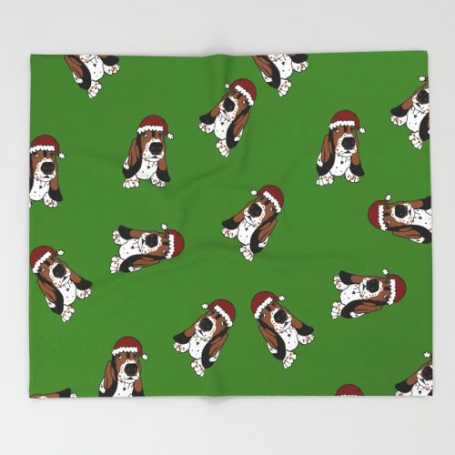 A Basset Full of Christmas Throw Blanket by Mel's Doodle Designs