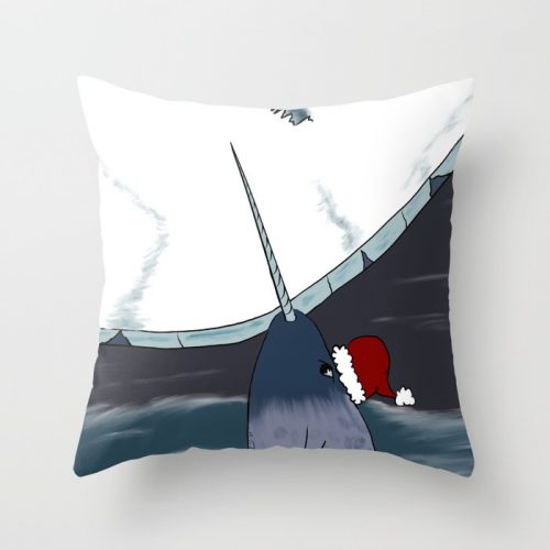A Narwhal Christmas Throw Pillow by Mel's Doodle Designs
