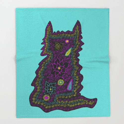 Black Cat With Roses Throw Blanket by Mel's Doodle Designs