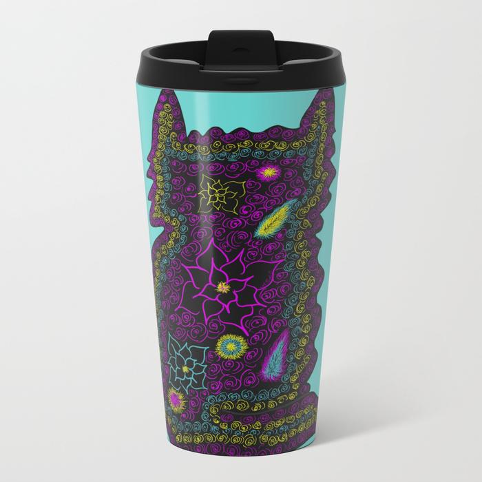 Black Cat With Roses Travel Mug by Mel's Doodle Designs