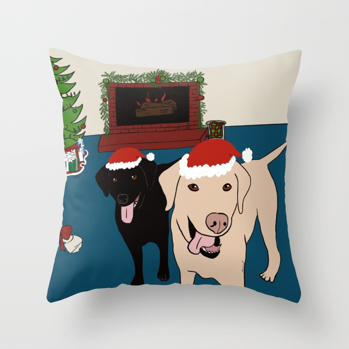 Labs Love Christmas Throw Pillow by Mel's Doodle Designs