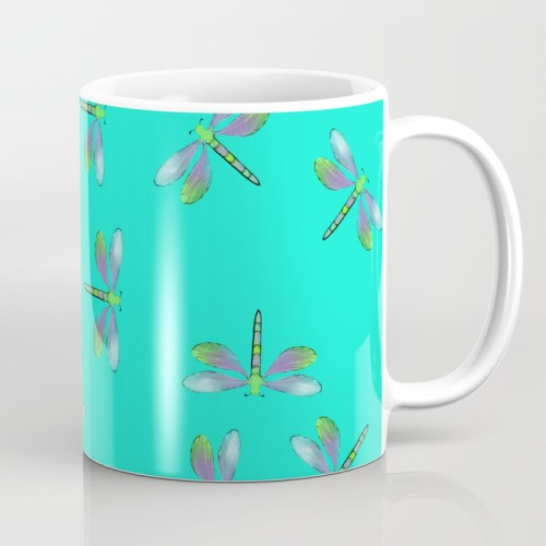 Adaptable Dragonflies in Aqua Coffee Mug by Mel's Doodle Designs