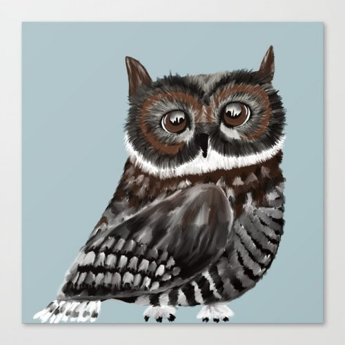 Adorable Owl In Blue Canvas Art Print by Mel's Doodle Designs
