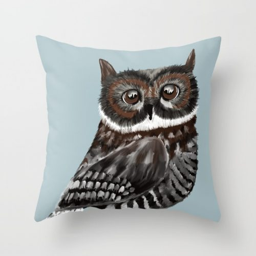 Adorable Owl In Blue Throw Pillow by Mel's Doodle Designs