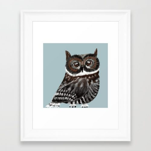 Adorable Owl in Blue Framed Art Print by Mel's Doodle Designs