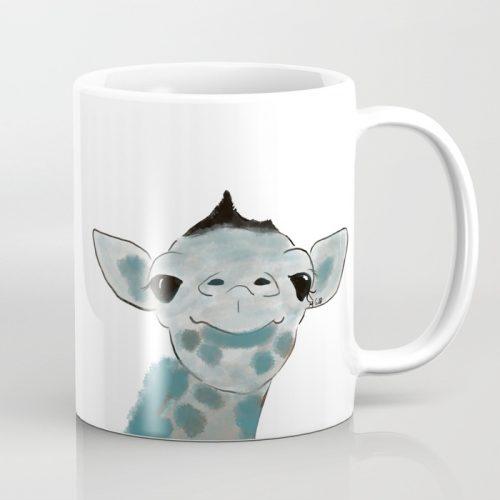 Happy Baby Giraffe Coffee Mug by Mel's Doodle Designs