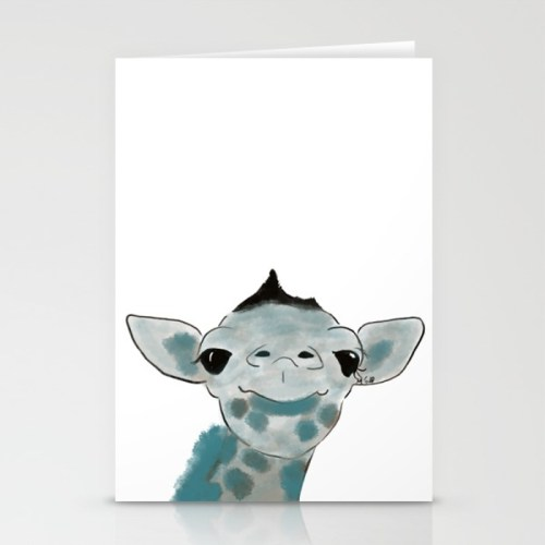 Happy Baby Giraffe Greeting Cards by Mel's Doodle Designs
