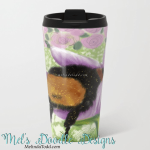 Bee Butt In Tulip Travel Mug by Mel's Doodle Designs