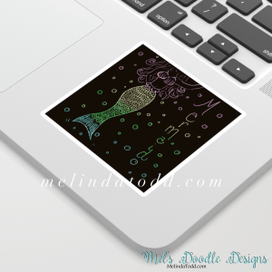Mermaid In The Dark Stickers for Back To School by Mel's Doodle Designs