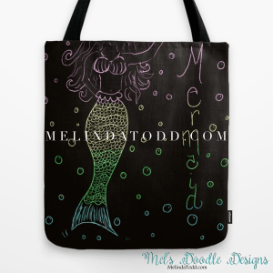 Mermaid In The Dark Tote Bag for Back To School By Mel's Doodle Designs