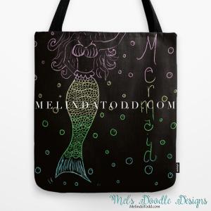 Mermaid In The Dark Tote Bag for Back To School By Mel's Doodle Designs