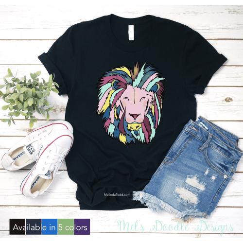 Colorful Lions Mane Graphic T-Shirt by Mel's Doodle Designs
