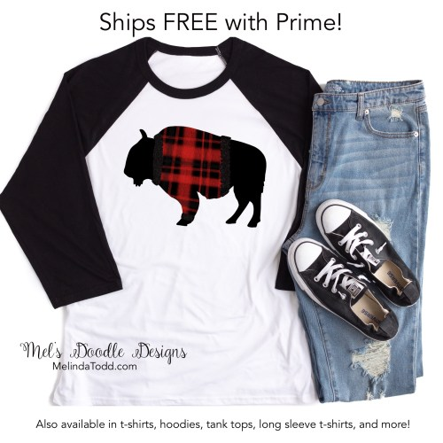 Buffalo Plaid Christmas Shirt by Mel's Doodle Designs