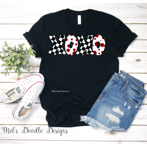 xoxo Black, White, and Red Valentine's shirt by Mel's Doodle Designs