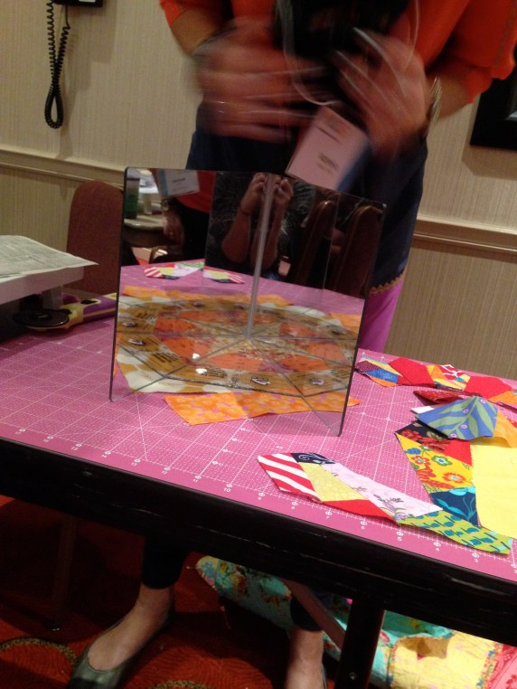 VFW demonstrates how to use a mirror on an improv block to make your own pattern